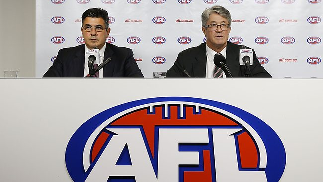 AFL CEO Andrew Demetriou and chairman Mike Fitzpatrick hand down Essendon's punishment.