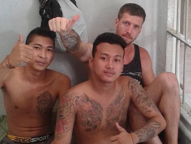 Davidson (top right) with fellow inmates at Kerobokan jail before he tunnelled his way to freedom on June 19.