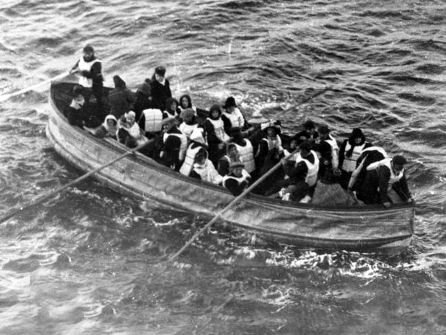 Passengers on the Titanic escape on a lifeboat. Picture: The Artefact Exhibition