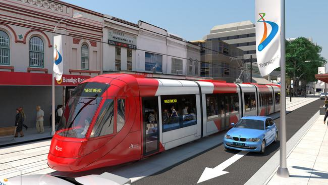 Artist's impression of the light rail in Parramatta CBD. Supplied.