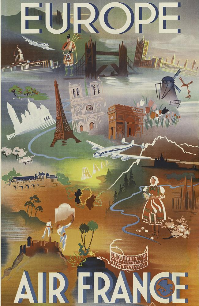 Air France created this beautiful vision of Europe in 1948. Picture: OldSchoolAds