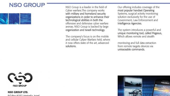 A brochure from early 2010 describes the firm as a leader in cyber warfare.