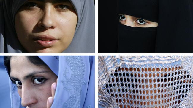 Muslim women wearing various type of Islamic veils, a hijab (top L), a niqab (top R) a tchador (bottom L) and a burqa. Photo: AFP.