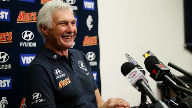 Sometimes prickly, Mick Malthouse is all smiles at his press conference. Picture: Colleen Petch