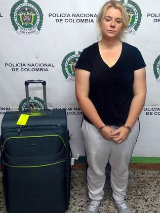 Sainsbury is pictured in handcuffs during her arrest. Picture: EPA/Col Anti-narcotics Police