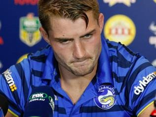 Eels captain Kieran Foran at the post match media conference after the round 8 NRL match between the North Queensland Cowboys and the Parramatta Eels at 1300 Smiles Stadium in Townsville, Saturday, April 23, 2016. (AAP Image/Michael Chambers) NO ARCHIVING, EDITORIAL USE ONLY