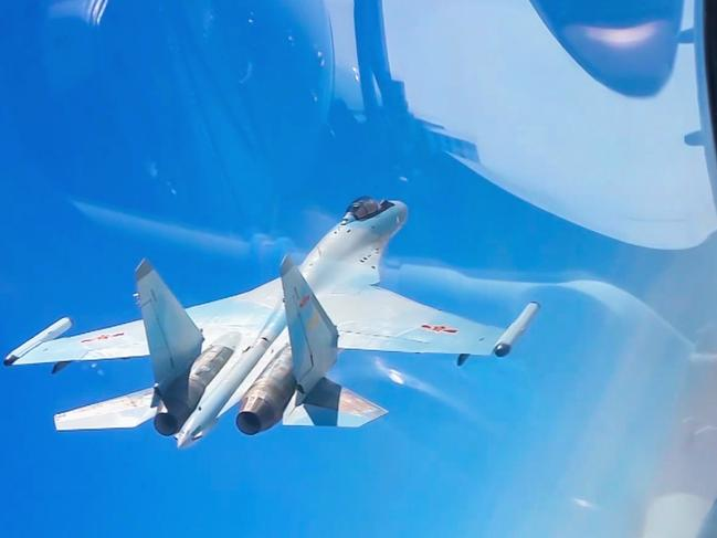 Chinese combat jets on patrol. Flights over the South China Sea and encircling Taiwan have become increasingly frequent. Picture: Xinhua