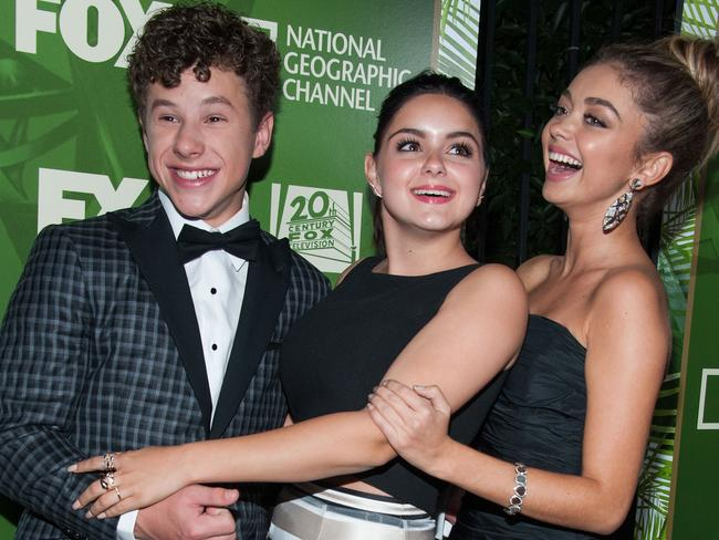 LOS ANGELES, CA - AUGUST 25: (L-R) Modern Family stars Nolan Gould, Ariel Winter and Sarah Hyland at a network Emmy Party. Picture: Getty