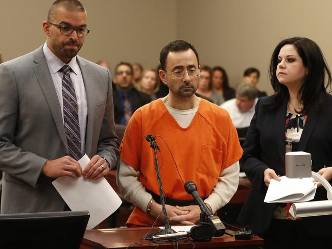 Dr. Larry Nassar, 54, appears in court for a plea hearing. Picture: AP