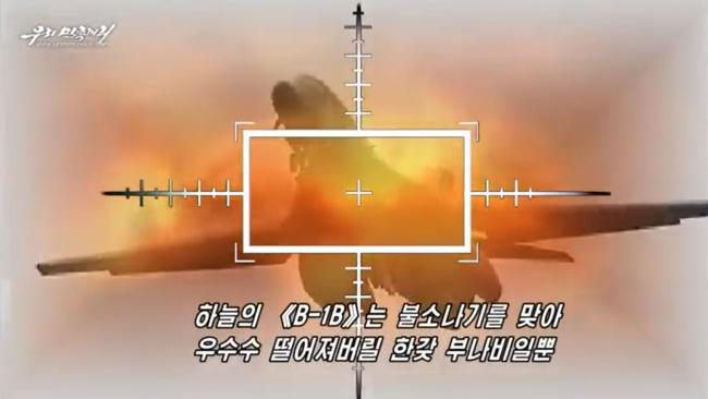 North Korean propaganda depicts a US B-1B bomber being shot down in a video released at the weekend.