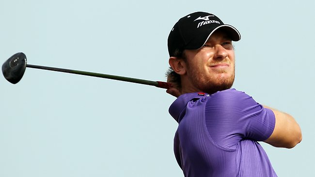 England's Chris Wood plays a shot during the final round of the Qatar Masters in Doha. Picture: Osama Faisal