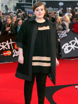 Singer Adele on the red carpet at the Brit Awards in 2008. Picture: Rex Features/Splash News