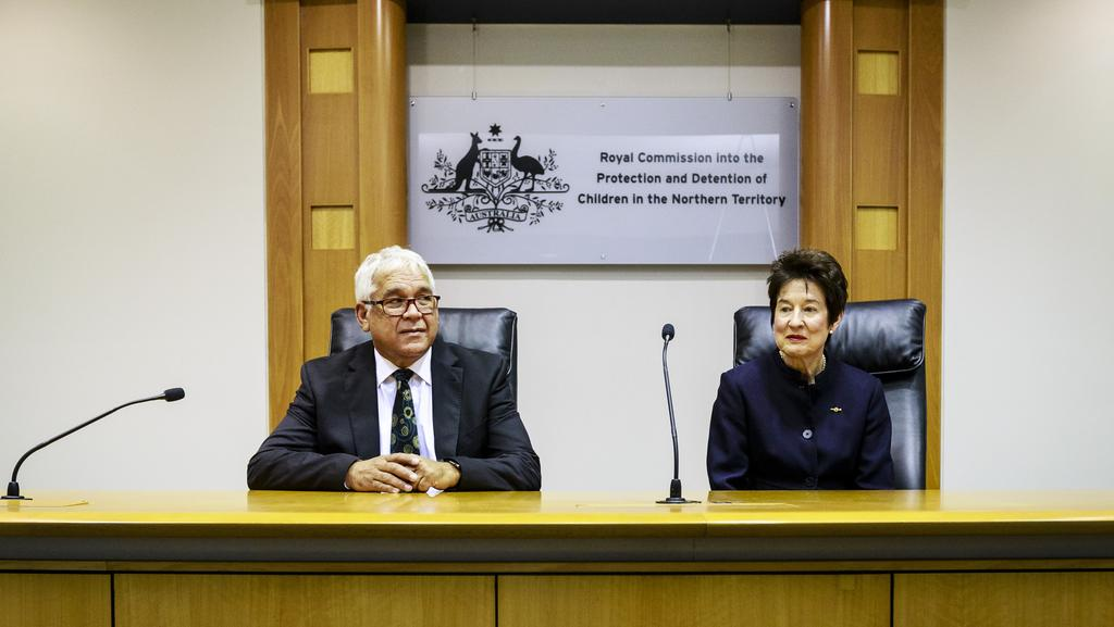 Commissioners Mick Gooda and Margaret White overseeing the Royal Commission into the Protection and Detention of Children in the Northern Territory. Picture: Amos Aikman