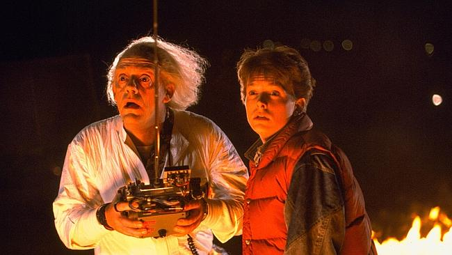 "Christopher Lloyd and Michael J Fox in ""Back to the Future""."