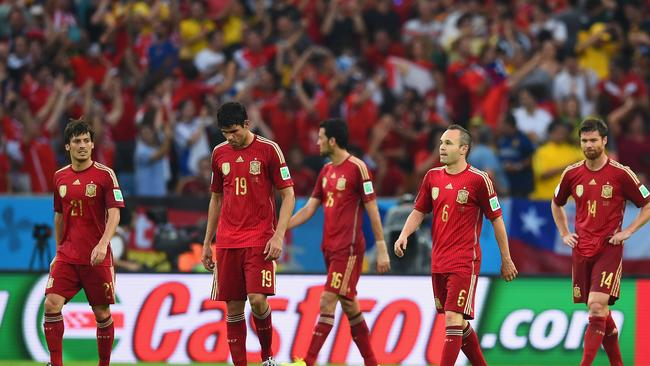 End of an era. David Silva, Diego Costa, Sergio Busquets, Andres Iniesta and Xabi Alonso react during the loss.