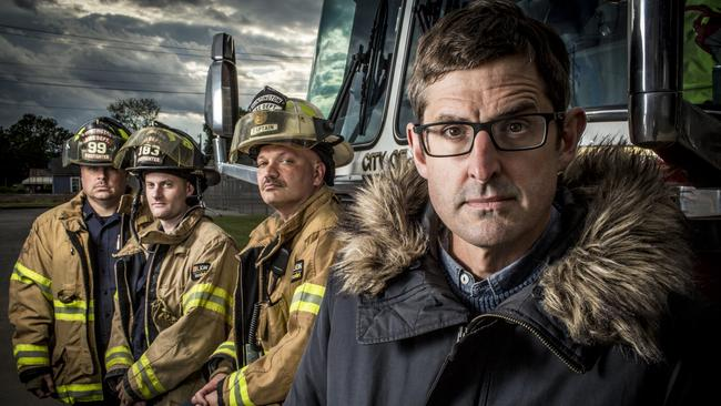 Image from Louis Theroux: Heroin Town (2017) Picture shows_Louis Theroux with Huntington's firefighters, who respond to multiple overdose call-outs a day.