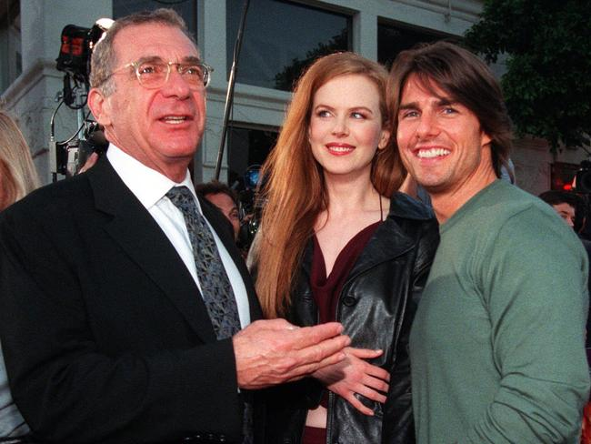 Then husband-and-wife actors Tom Cruise and Nicole Kidman with co-star Sydney Pollack.