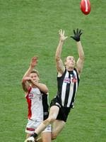 Nick Maxwell takes a game-saving mark over Sam Gilbert in the dying minutes of the 2010 Grand Final.
