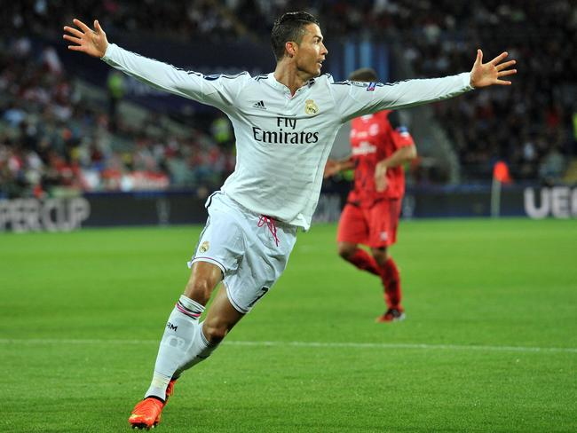 Real Madrid's Portuguese striker Cristiano Ronaldo celebrates scoring his second goal.