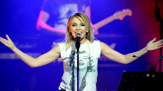 Pop princess ... Kylie Minogue showing off her inner rock chick during the Anti-Tour show at the Palace Theatre. Picture: Mike Keating