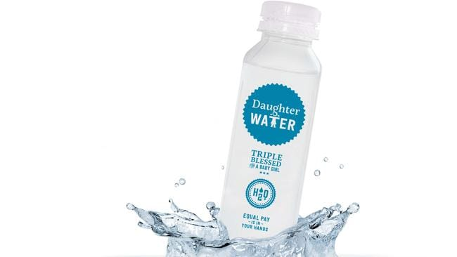 Disparity ... bottles of 'Daughter Water' will be sent to chief executives across the nation.