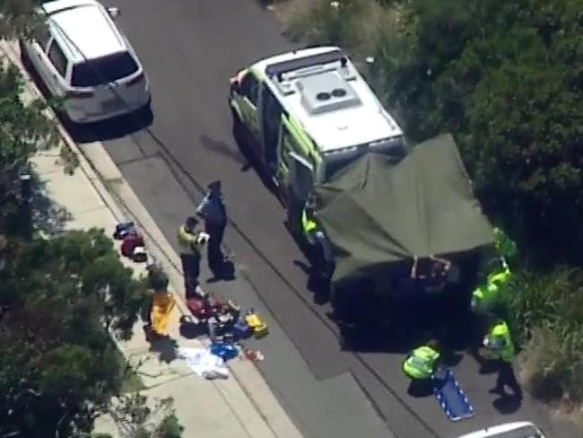 Aerial stills from the scene where the woman was killed. Picture: Seven News