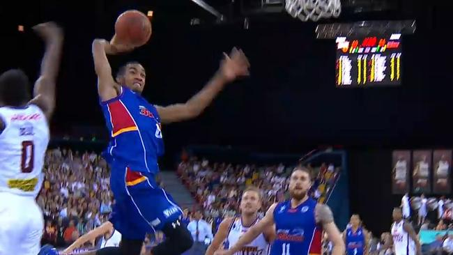 Boom! Adelaide 36ers youngster Terrance Ferguson throws down a monster dunk against the Brisbane Bullets.