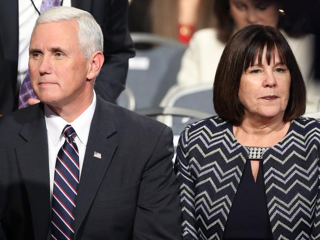"""Power couple: Mike Pence and his """"prayer warrior, gut check and shield"""", wife Karen. Picture: AFP Joe Raedle"""