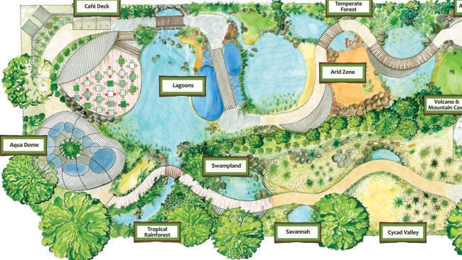 An artist's impression of a proposed Jurassic-era themed nature park for Cairns. It could