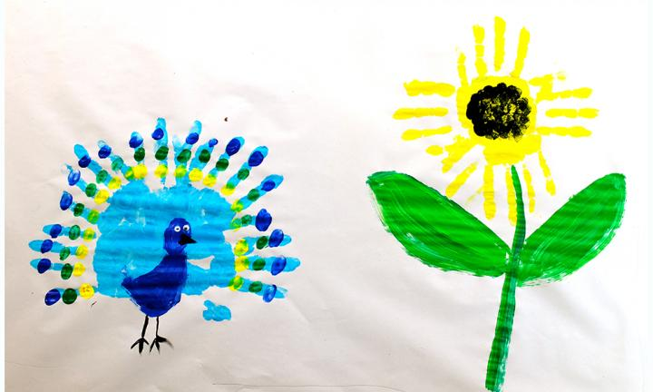 peacock handprint art