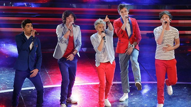 British pop band One Direction performs during the 62nd edition of the Sanremo Song Festival, in Sanremo, Italy, Feb. 17, 2012. (AP Photo/Luca Bruno)