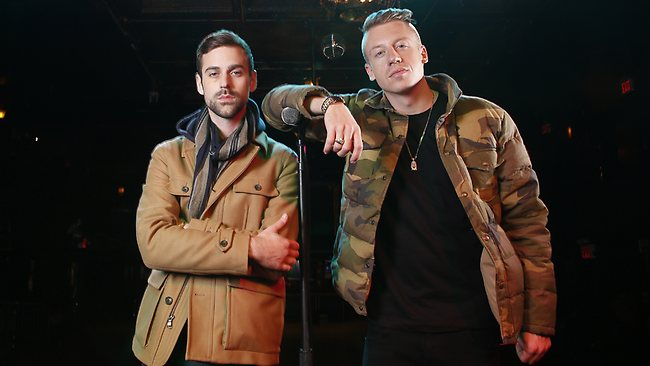 American musician Ben Haggerty, better known by his stage name Macklemore (R), and his producer Ryan Lewis are as surprised as anyone that their song Thrift Shop has become a hit for the whole family.  Picture: Carlo Allegri/Invision/AP