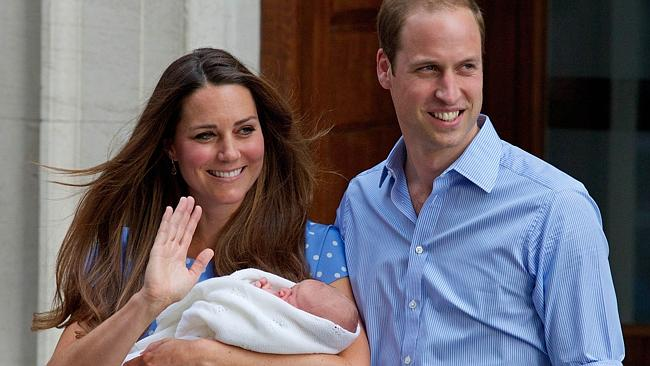 First outing ... Prince George made his debut on the steps outside St Mary's Hospital in London eight months ago.