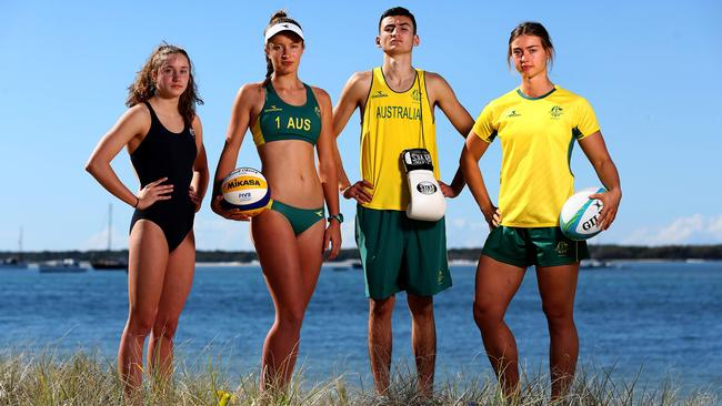 Swimmer Brittany Castelluzzo, beach volleyballer Bec Ingram, boxer Mark Borg and rugby sevens player Lily Dick. Picture: Adam Head