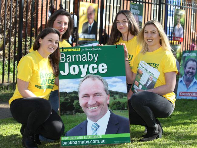 Barnaby Joyce's daughters Caroline, Bridgette, Odette and Julia were all out supporting their dad leading up to the 2016 federal election in 2016, but were nowhere to be seen during the recent by-election. Picture: Marlon Dalton