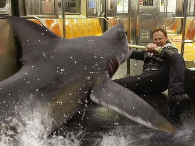 Ian Ziering, as Fin Shepard, battles a shark on a New York City subway. Picture: Syfy