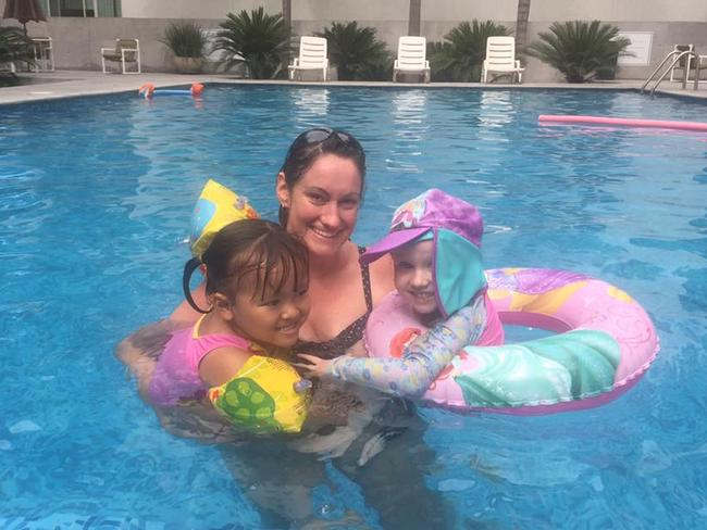 Canberra mum Kathie Potts with her daughter Annabelle and another Australian child Annabelle Nguyen in Monterrey Mexico. Picture: Supplied