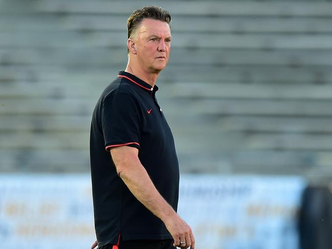 Manchester United's new coach Louis van Gaal during a recent training session.