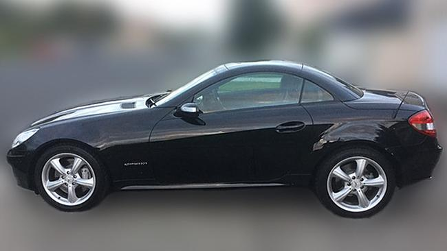 A black Mercedes Benz SLK coupe similar to the one seen in the area where the Melbourne mother was last seen on June 29, 2016. Picture: AAP Image/Victoria Police
