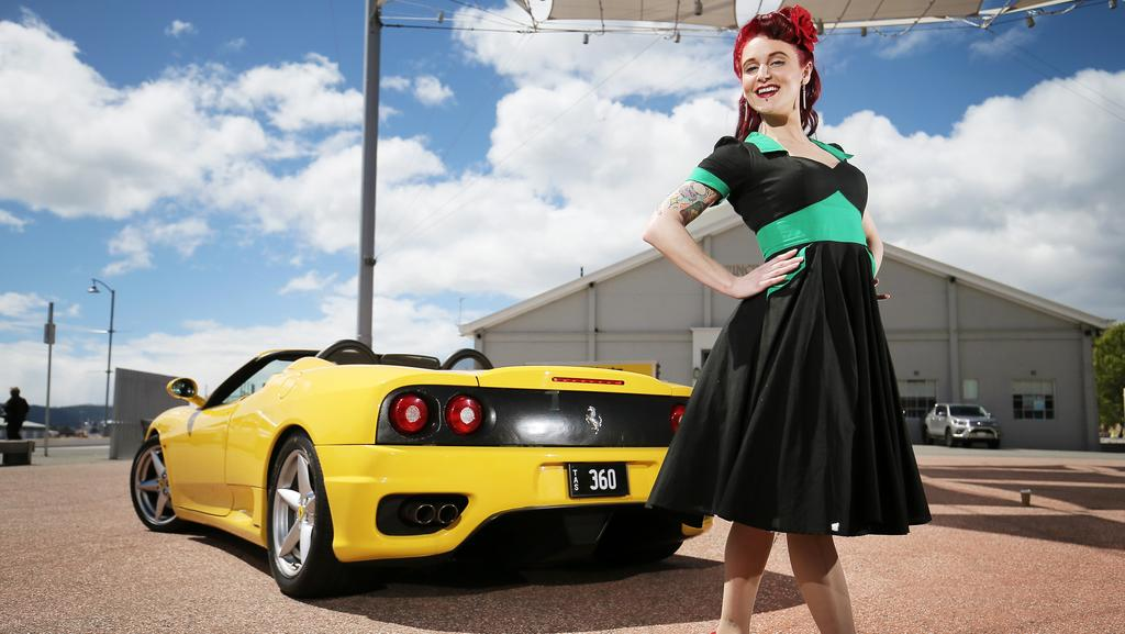 Billie Rocka with a 2003 Ferrari 360 Spider ahead of the Take Your Tops Off car event, which raises funds for the National Breast Cancer Foundation. Picture: SAM ROSEWARNE