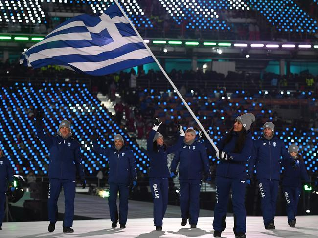 Flag bearer Sophia Ralli of Greece leads the team during the Opening Ceremony of the PyeongChang 2018 Winter Olympic Games. Picture: Getty