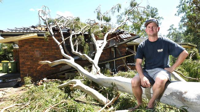 Justin Stephenson at his home at Munruben after the storm. Picture: AAP/John Gass