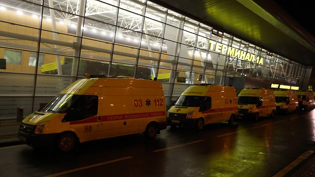 Ambulances lined up outside the main building of Kazan airport. Picture: AFP