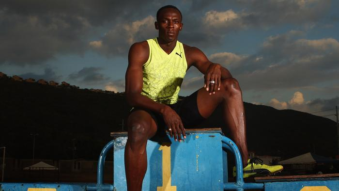 KINGSTON, JAMAICA - APRIL 06: Usain Bolt of Jamaica poses for a portrait during a training feature at the National Stadium on April 6, 2009 in Kingston, Jamaica. (Photo by Ian Walton/Getty Images)
