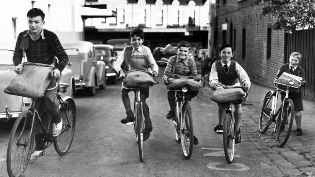 Newspaper delivery boys in 1954.