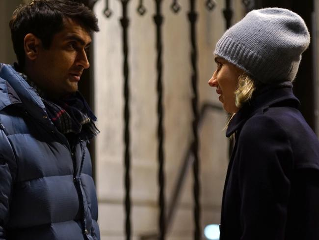 Kumail Nanjiani and Zoe Kazan in a scene from film The Big Sick.