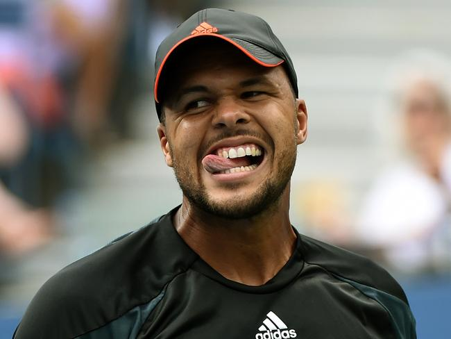 Jo-Wilfried Tsonga reacts during his US Open loss against Andy Murray.