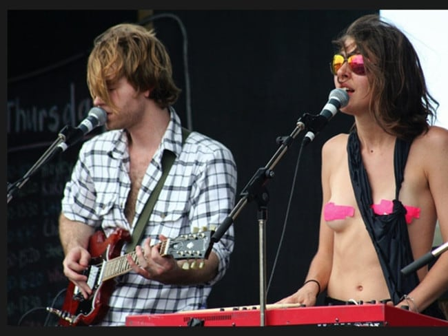 Chairlift - Caroline Polachek wears pink electrical tape at Falls Festival in Tasmania. Picture: Ben Wise