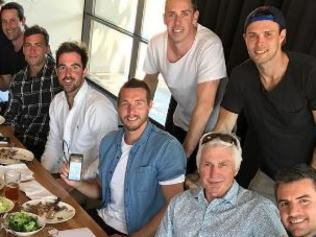 PLAYERS from Collingwood's 2010 Premiership team shared have shared lunch with their former coach Mick Malthouse. Pic from Dane Swan's instagram. danes842010 premiership squad and 2016 legends. Might as well rip in like we did back then.