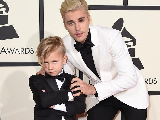 Pop star Justin Bieber strikes a pose with Jaxon. Picture: AP